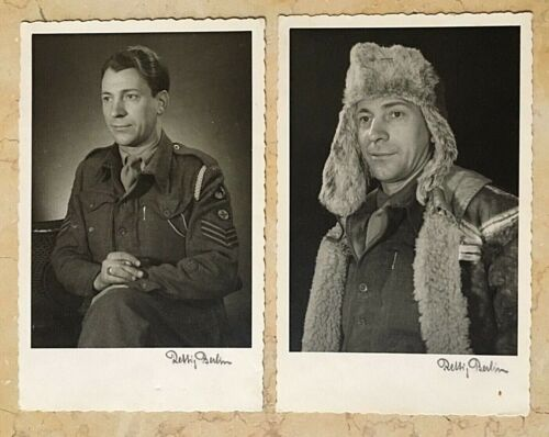 (2) ORIGINAL WW2 BRITISH 30th CORPS SERGEANT PHOTO POSTCARD