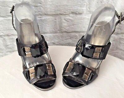 Tory Burch  Gray Metallic Satin Large Jewels Slingback High Heels Size 7M ()