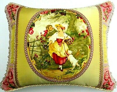 Decorative Pink Floral Throw Pillow with avacado /& cream stripes. NWT STUNNING