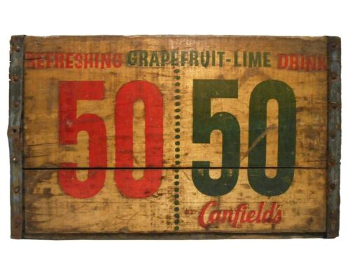 RARE VINT A. J. CANFIELDS CO 50/50 GRAPEFRUIT-LIME STMPD WOOD/TIN BOX SODA CRATE