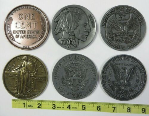 """Vintage 3"""" LARGE NOVELTY COINS Paperweight Coaster Penny Dime Nickel etc. Lot #2"""