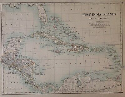 West India Islands - South America (Southern) Antique Map 1891 Large 2 Sided