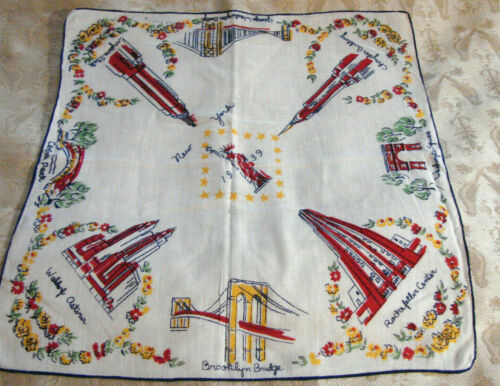 "Vintage 30s Hanky 1939 NEW YORK Landmarks Souvenir VGC 12"" Cotton"