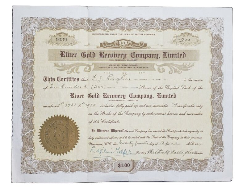 1919 River Gold Recovery Co. Certificate - Rare Vancouver, B.C. Mining Stock