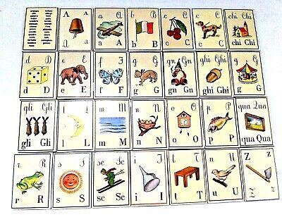 VINTAGE ITALIAN ALPHABET 28 MAGNETS BY CAVALLINI ITALY EDUCATIONAL LANGUAGE TOY