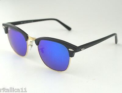 Ray-Ban RB3016 Clubmaster Classic 901/17 Black Frame/Blue Flash Glass Lens