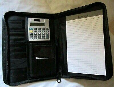 Cisco Black Leather Portfolio Zipper Organizer Case Pocket Planner Calculator