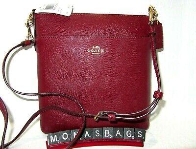 Coach 39408 Deep Red Crossgrain Kitt Leather Crossbody Handbag NWT $150 Deep Red Leather Handbag