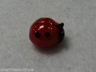 q Lucky Ladybug MINIATURE GLASS FIGURINE blown art mini tiny handmade