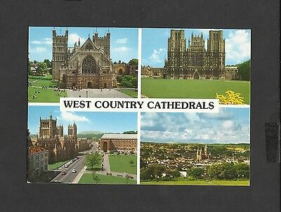 John Hinde Multi View Colour Postcard  West Country Cathedrals Wells - Truro-