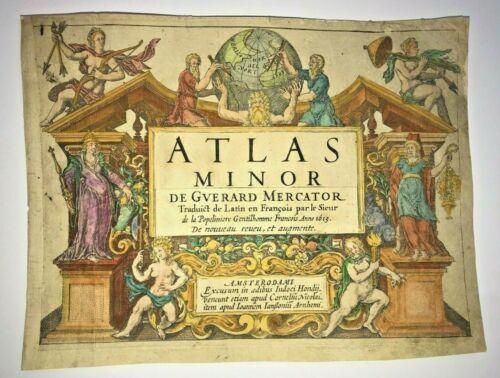 MERCATOR HONDIUS ATLAS MINOR 1613 ANTIQUE TITLE PAGE