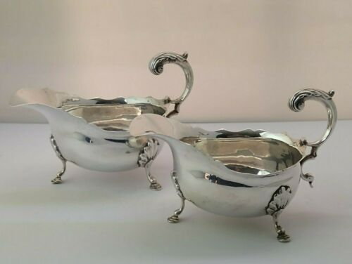Pair Of Victorian Solid Silver Sauce Boats - 380g - Chester 1895