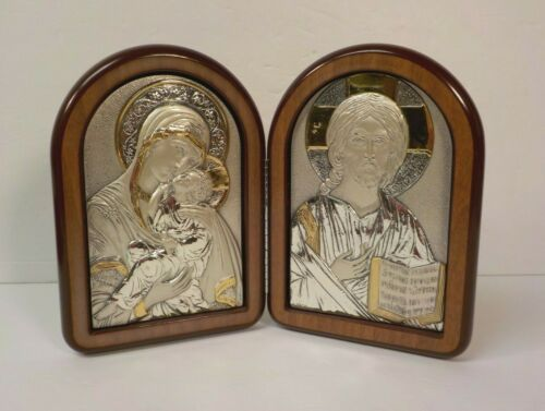 """Pair Italian Sterling Silver 6"""" Icons, Signed, Folding Cherry Picture Frame Case"""