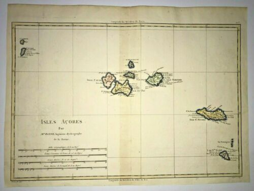 ACORES ISLANDS 1780 RIGOBERT BONNE ANTIQUE MAP IN COLORS 18TH CENTURY