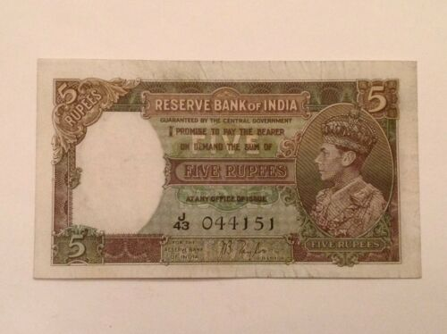 ~British India Five 5 Rupees 1937 Series Banknote George VI P 18a - J.B. Taylor