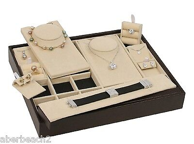 Stackable Jewelry Display Showcase Tray W 27 Interchangeable Inserts