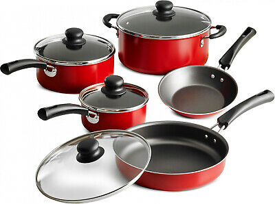 Non Stick Red Cookware Nice Full Set Kitchen Cooking Pots Pans and...