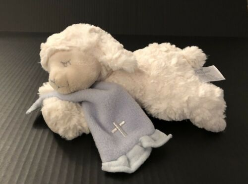"Nat & Jules Plush Lamb Prays Now I Lay Me Down To Sleep White Blue 10"""