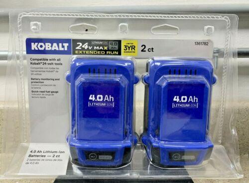 Kobalt 1361782 NEW 24v Extended Run 4.0Ah Lithium-Ion Battery 2-Pack