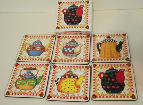 Mary Engelbreit cork backed coasters teapots ~X