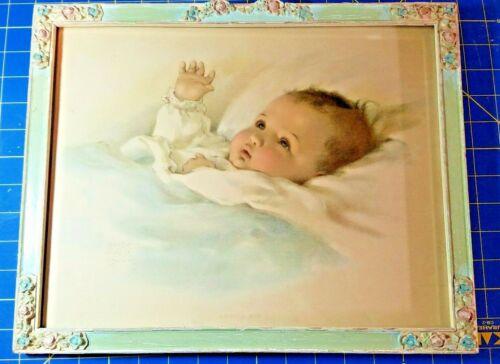 "VTG BESSIE PEASE GUTMANN LITHOGRAPH ""AWAKENING BABY""  - ORIGINAL FRAME"