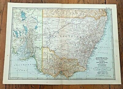 1903 large colour fold out map titled - australia - south east part  !