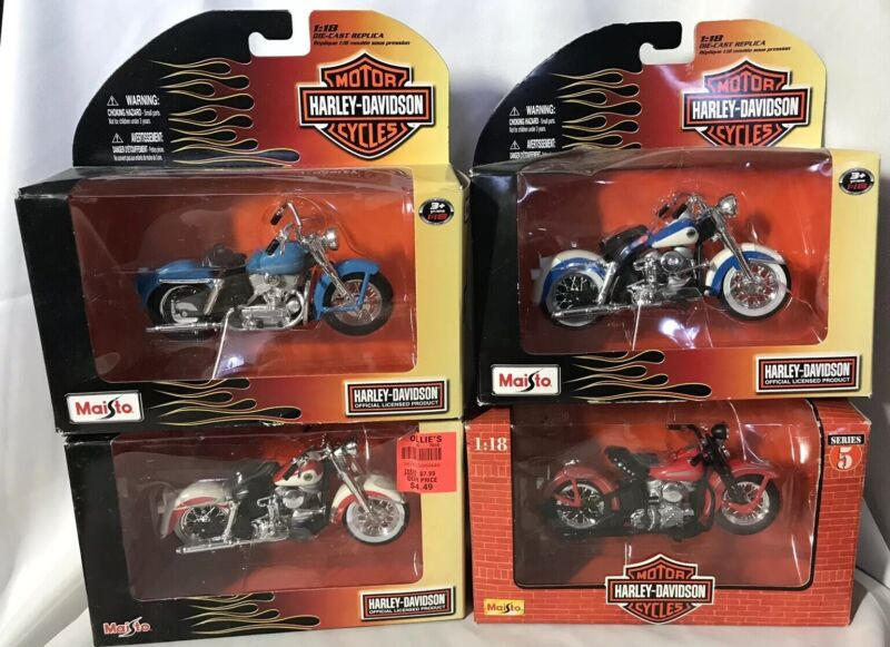 Harley Davidson Motorcycles ~ Maisto 1:18 Scale Diecast (Set of 4) ~ NEW In BOX