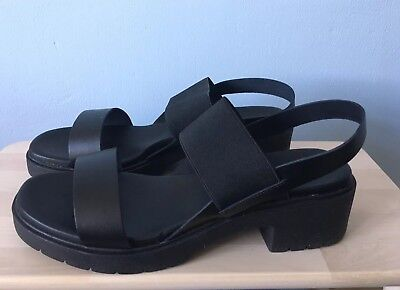 29d57542f43 ASOS Home Straight Heeled Sandals Black Leather Brand New With Box In Size  UK 7