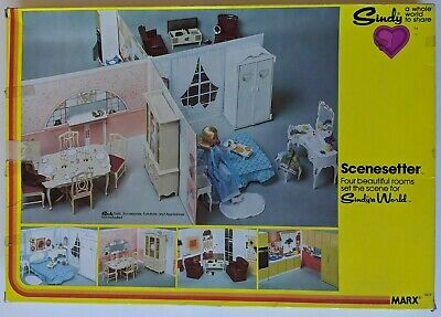 Vintage Marx Toys Sindy World Scenesetter Four Rooms 1601F 1979 Doll House Walls