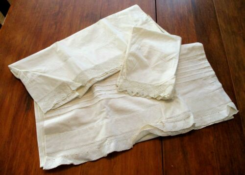 Antique Cotton Pillowcases Mixed Lot 3 Hand Knit Lace Pintucking Victorian Bed