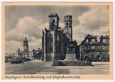 STUTTGART Schillerplatz & Stiftskirche / Trümmer Kriegsschäden * AK 1945 US PC