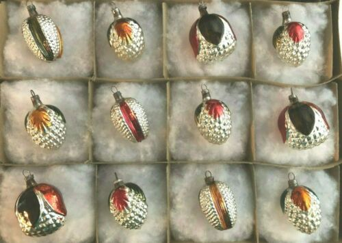 Box of 12 Silver Mercury Glass Bumpy Painted Flower Berry Xmas Ornaments GERMANY