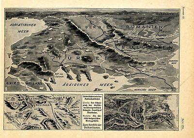 Balkankrieg Schauplatz Relief-Übersichtskarten von 1912