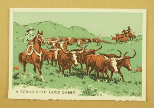 GENE AUTRY & CHAMP 1940s original vintage Flying A Ranch Holiday Christmas Card