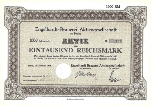 Engelhardt +1998 Berlin 1000 Reichsmark 1928 German Stock Certificate