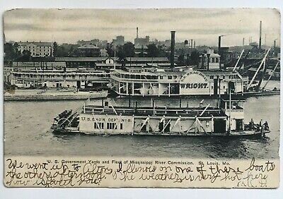 1907 MO Postcard St Louis Mississippi River U.S. Government boats ships yard