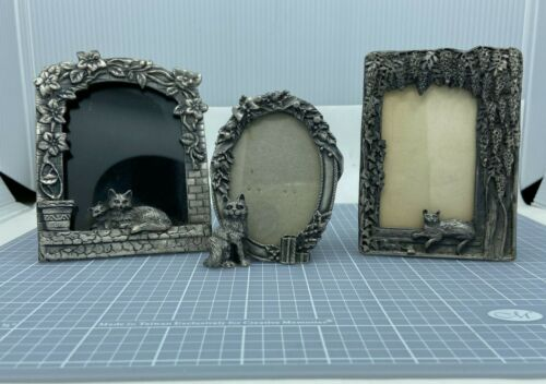 Three Cat Kitty Pewter Picture Frames