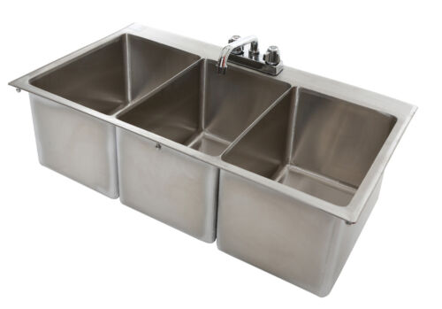 3 Bowl Stainless Steel Drop In Sink