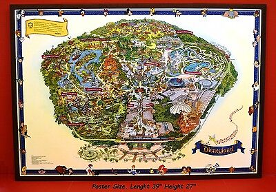LARGE VINTAGE WALT DISNEY'S  GUIDE TO DISNEYLAND  THE MAGIC KINGDOM MAP MINT VR