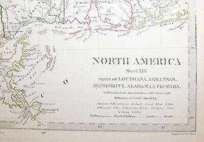 1852 Louisiana Arkansas Mississippi Alabama Florida ORIGINAL Antique MAP Knight