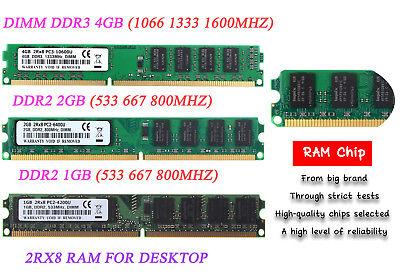8 GB 4GB 1GB 2GB 2G DDR2 DDR3 5300 6400U 667 800 1600Mhz Desktop Memory DIMM RAM ()