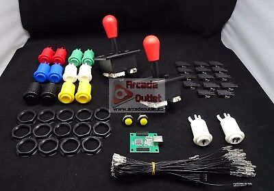 Kit Arcade Joysticks Americanos y 16 botones + Interface USB 2 Jugadores...