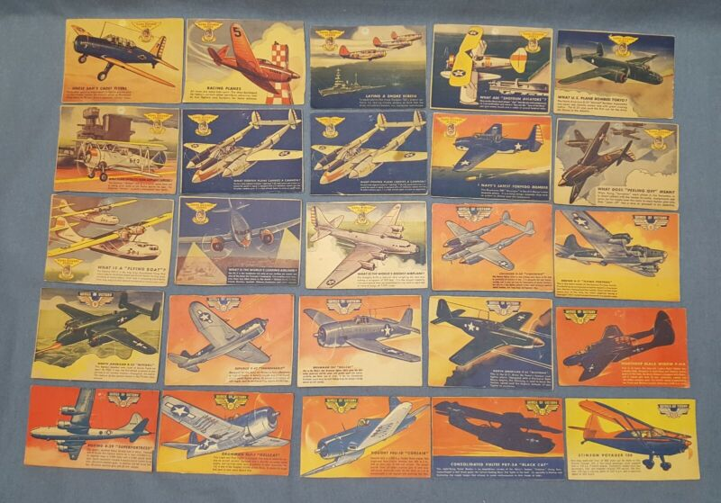 Lot Vtg Quaker Sparkies Cereal Premium Cards Aircraft Plane Defense Wings Today