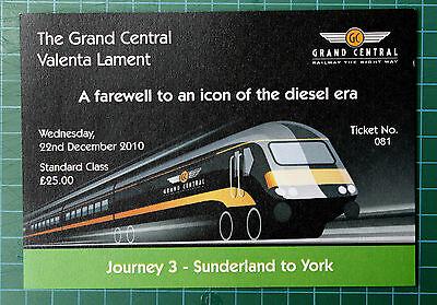 Grand Central HST Valenta Lament ticket 2010 STANDARD, trip 3 Sunderland to York
