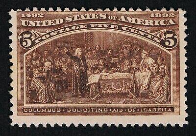 OUTSTANDING GENUINE SCOTT #234 FINE MINT OG NH 1893 COLUMBIAN 5¢ CHOCOLATE