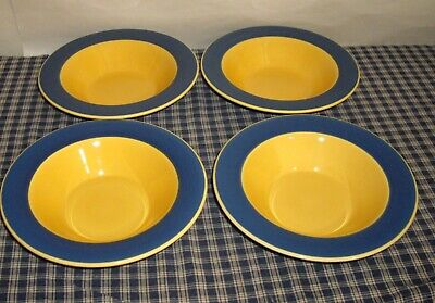 """Kathy Ireland Home A Cafe Blue & Yellow 9"""" Rimmed Bowls  set of 4"""