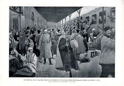 Bulgarische Soldaten Bahnhof Sofia XL Kunstdruck 1912 Bulgarien Rotes Kreuz