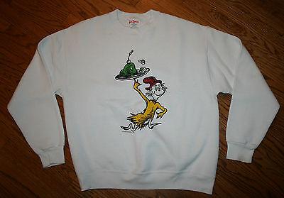 Vintage Dr. Seuss Green Eggs and Ham white Sweatshirt shirt Junior Large (adult)
