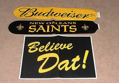 3- VINTAGE NEW ORLEANS SAINTS LOT BUDWEISER BLOW UP NOISE MAKERS & AD POSTER - Blow Up Noisemakers