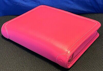 Franklin Covey Genuine Leather Pink Classic Plannerorganizer Htf Nwot